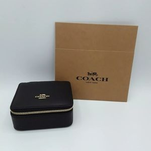 COACH Black Crossgrain Leather Travel Jewelry Box